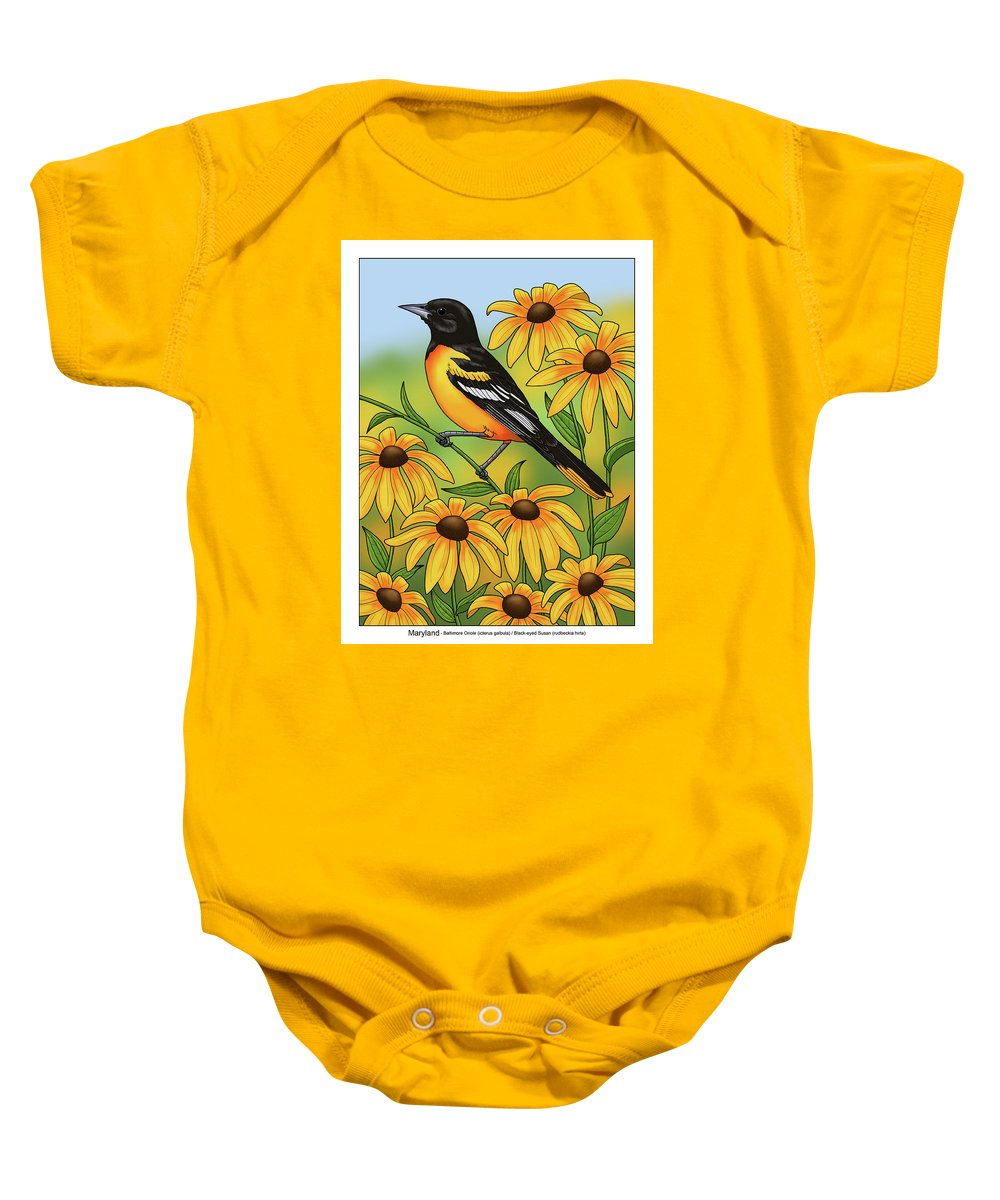Bird Baby Onesie featuring the painting Maryland State Bird Oriole And Daisy Flower by Crista Forest