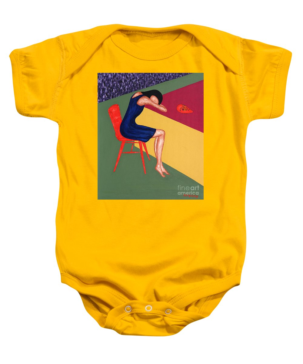 Mask Baby Onesie featuring the painting Mask by Patrick J Murphy
