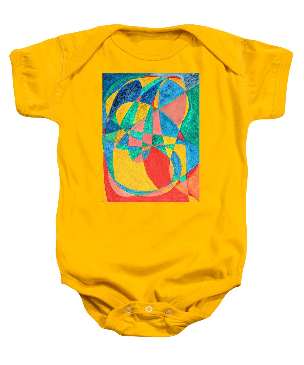 Abstract Baby Onesie featuring the painting Massage In Abstract Word Art by Lee Serenethos
