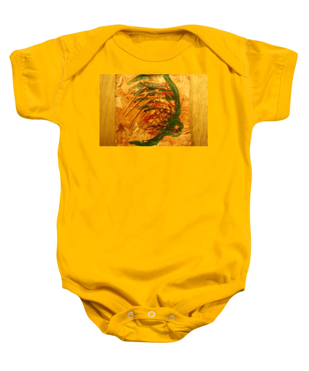 Jesus Baby Onesie featuring the ceramic art Matthew - Tile by Gloria Ssali