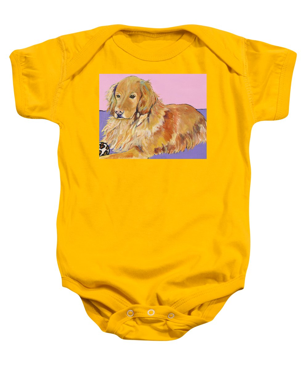 Golden Retriever Baby Onesie featuring the painting Maya by Pat Saunders-White