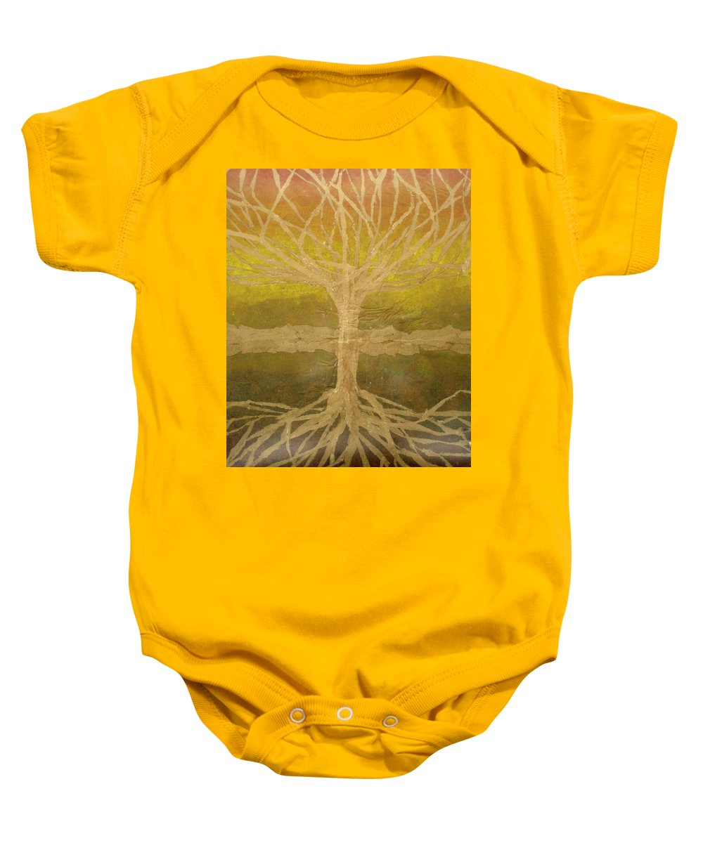 Abstract Baby Onesie featuring the painting Meditation by Leah Tomaino