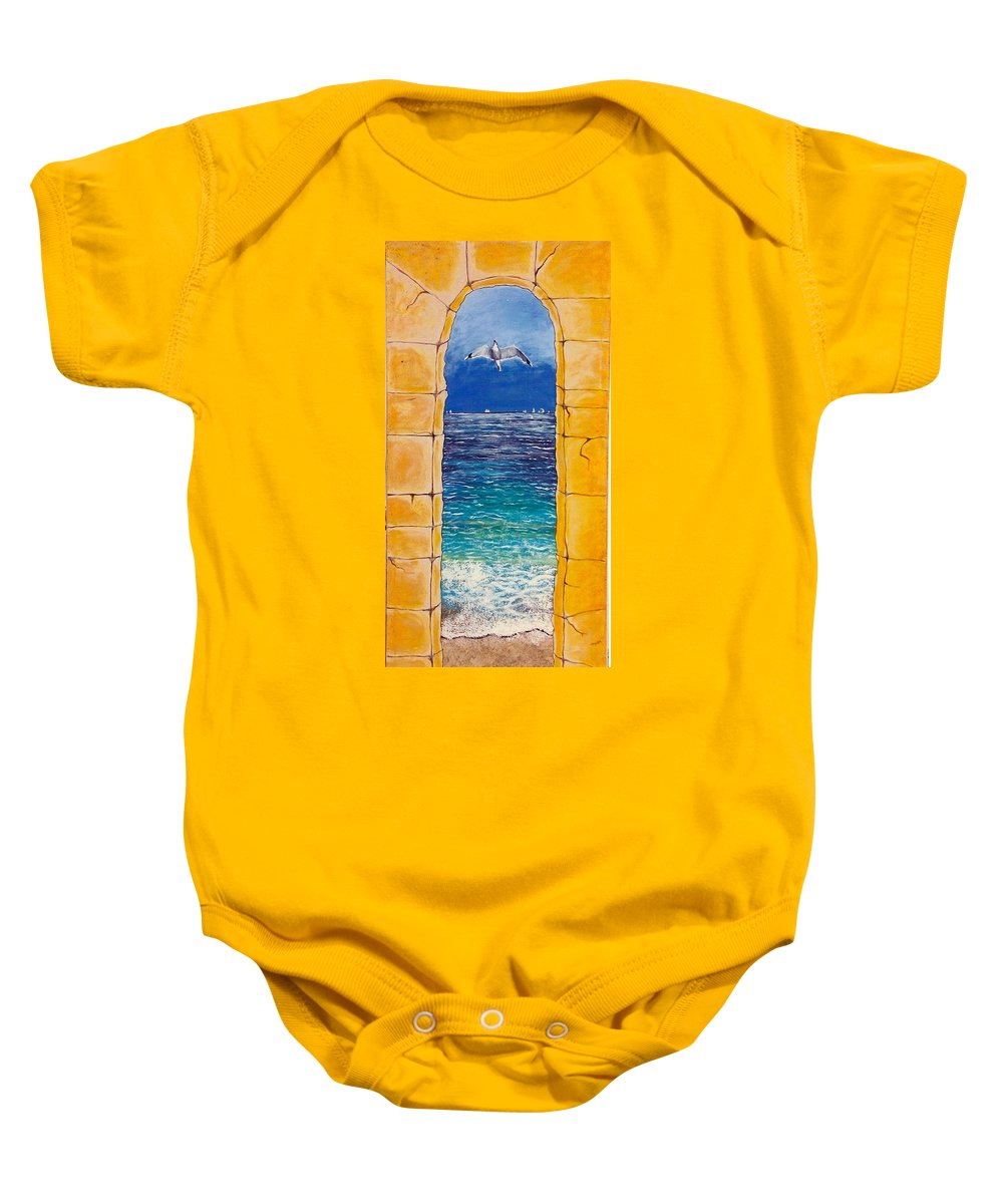 Beach Baby Onesie featuring the painting Mediterranean Meditation by V Boge