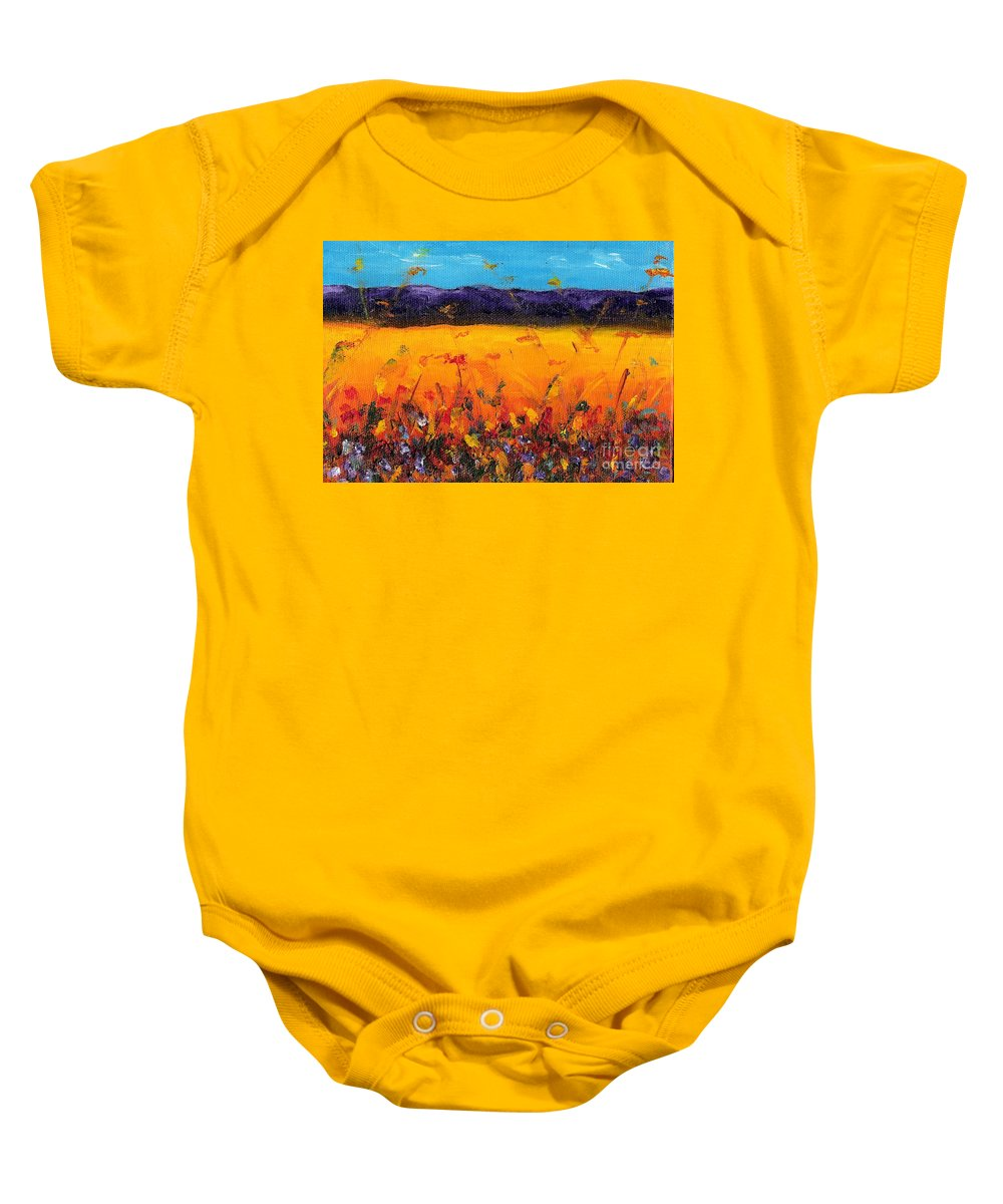 Meadows Baby Onesie featuring the painting Melissa's Meadow by Frances Marino