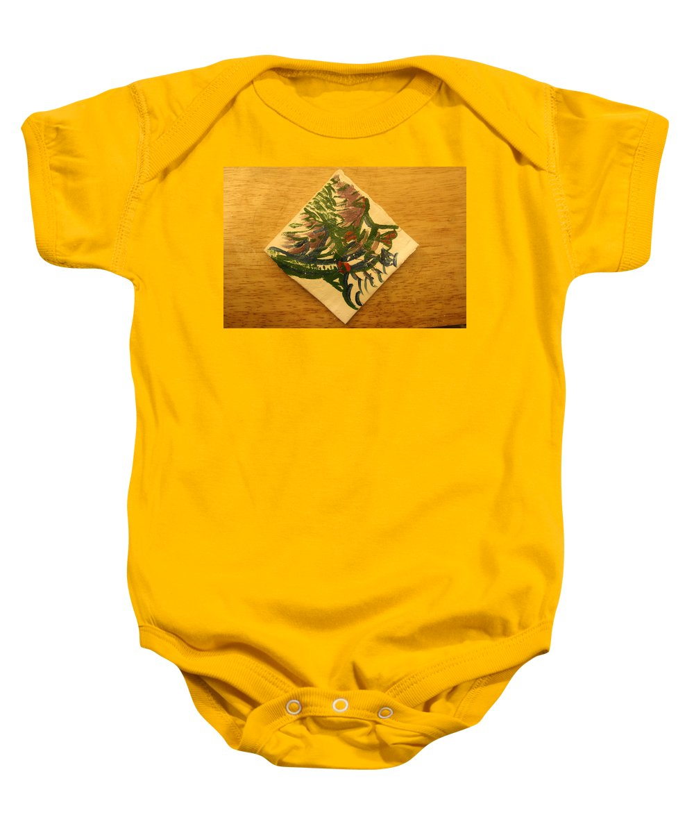 Jesus Baby Onesie featuring the ceramic art Mercy - Tile by Gloria Ssali