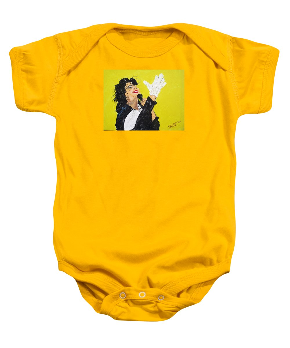 Michael Jackson Baby Onesie featuring the painting Michael Jackson The Hand by Arlene Wright-Correll