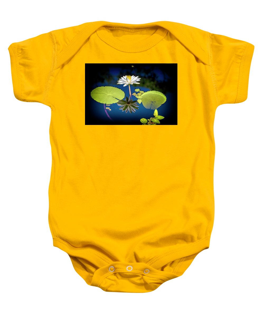 Mid Day Water Lily Reflection Baby Onesie featuring the photograph Mid Day Water Lily Reflection by Don Columbus