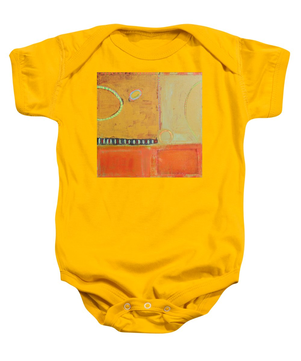 Peace Colors Abstract Modern Contemporary Baby Onesie featuring the painting Miles From Home by Habib Ayat