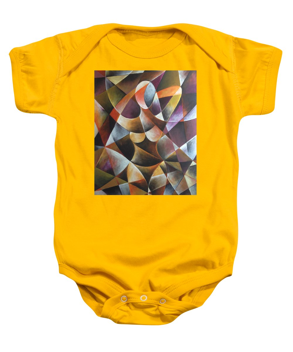 Abstract Baby Onesie featuring the painting Miss Ronnie by Ilgar Talibov