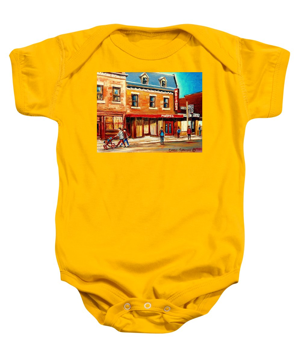 Moishes Steakhouse Baby Onesie featuring the painting Moishes The Place For Steaks by Carole Spandau