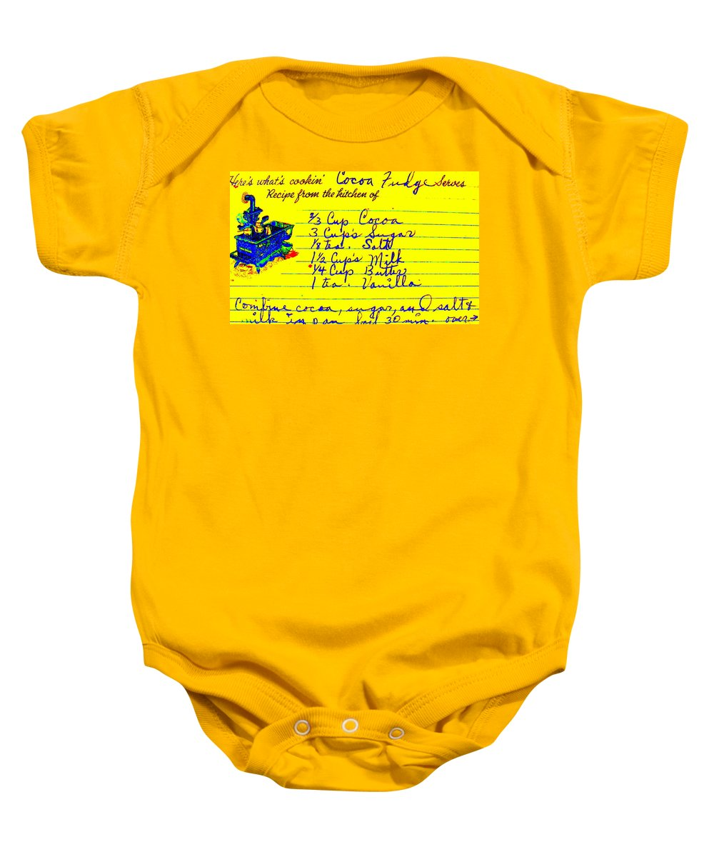 Recipe Baby Onesie featuring the photograph Moms Old Recipe by Ed Smith