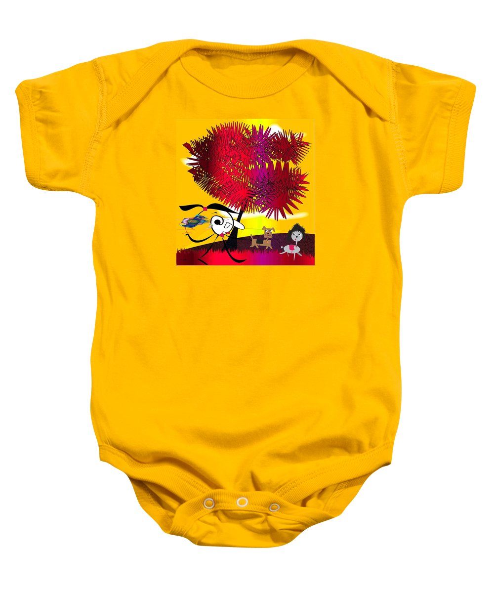 Comic Baby Onesie featuring the drawing Monday by Iris Gelbart