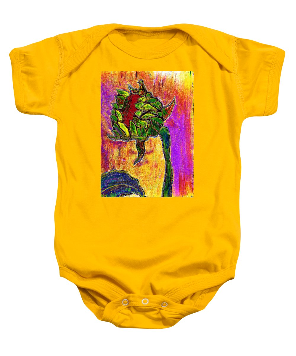 Sunflower Baby Onesie featuring the painting Mornings Glow by Wayne Potrafka