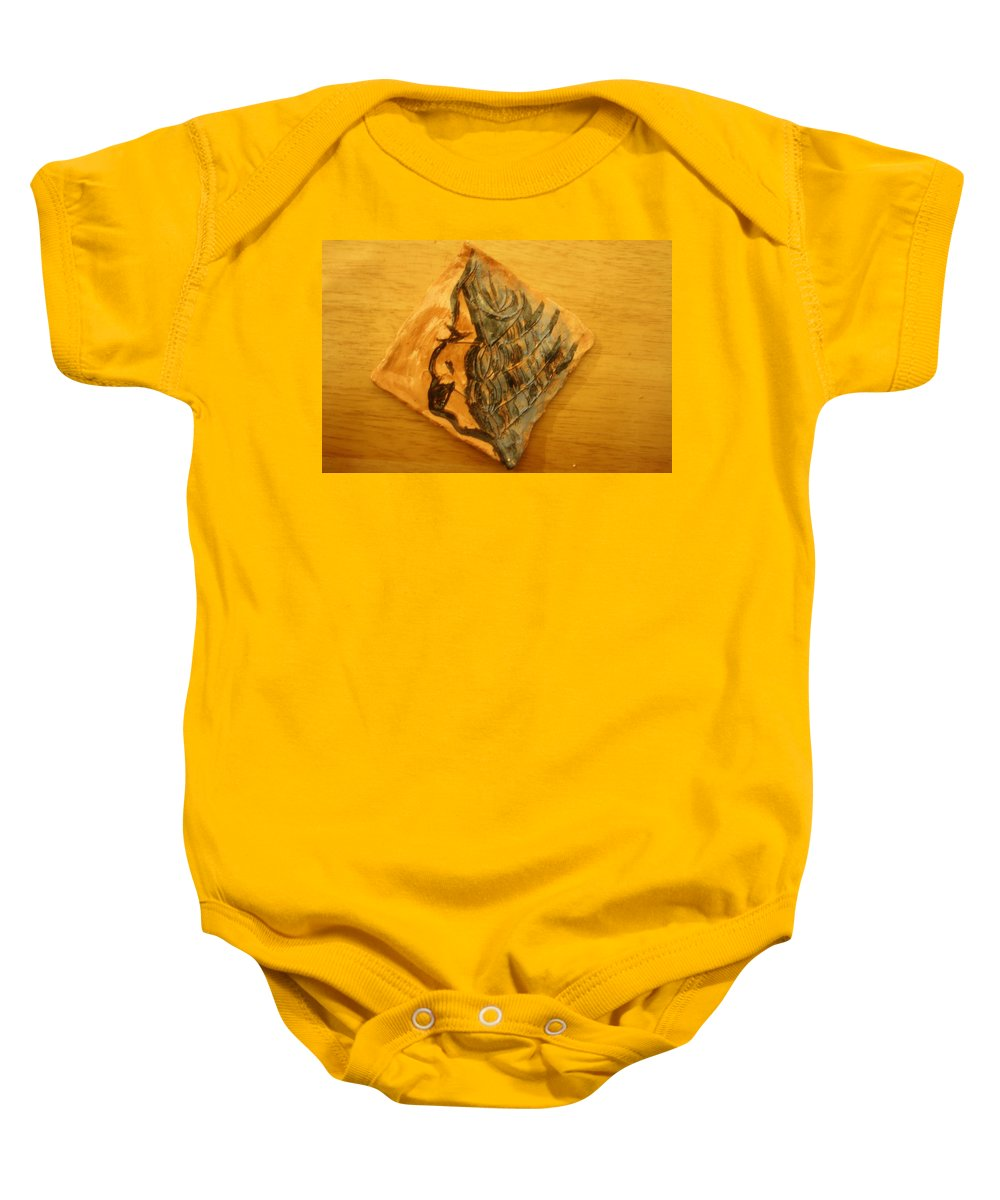 Jesus Baby Onesie featuring the ceramic art Mother - Tile by Gloria Ssali