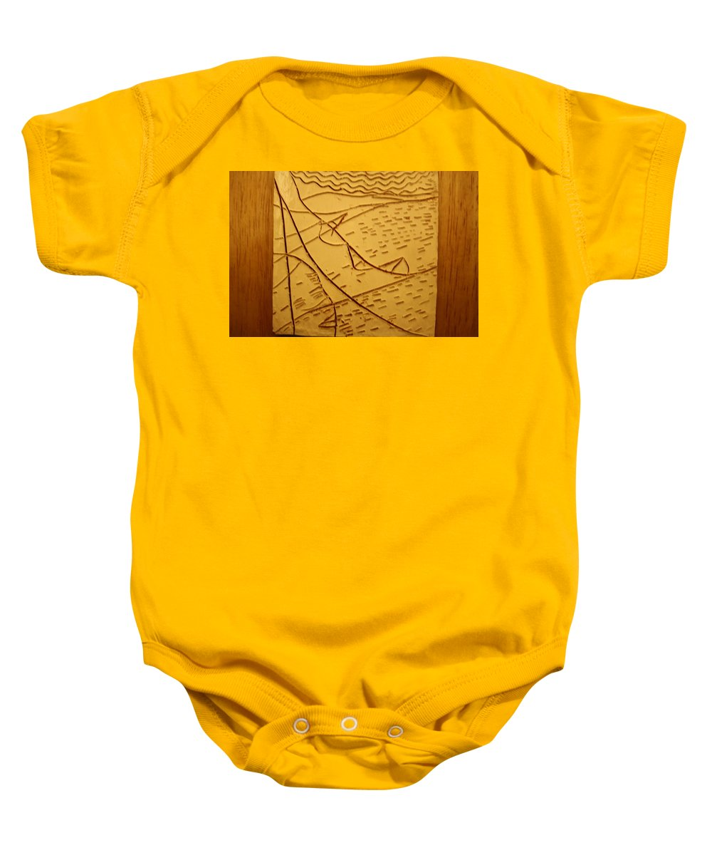 Jesus Baby Onesie featuring the ceramic art Mothers Eyes - Tile by Gloria Ssali