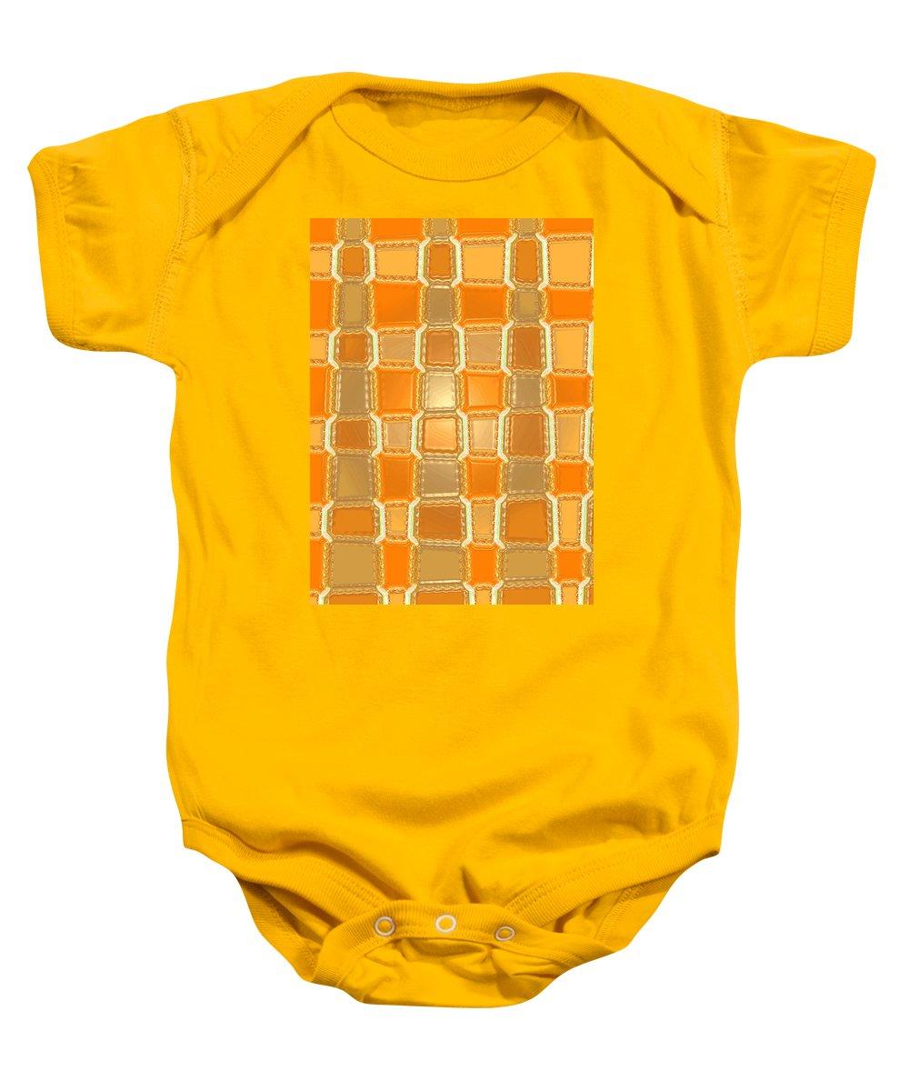 Moveonart! Digital Gallery Baby Onesie featuring the digital art Moveonart Orange Bricks by Jacob Kanduch