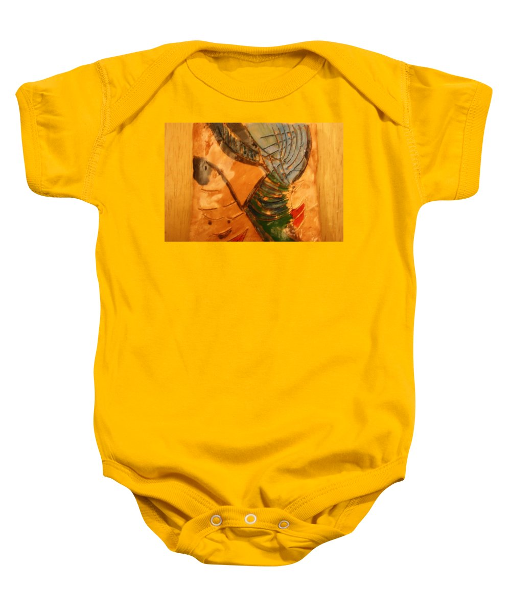Jesus Baby Onesie featuring the ceramic art Mums Fave - Tile by Gloria Ssali