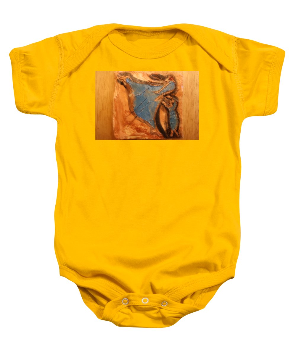 Jesus Baby Onesie featuring the ceramic art Mums Leap - Tile by Gloria Ssali