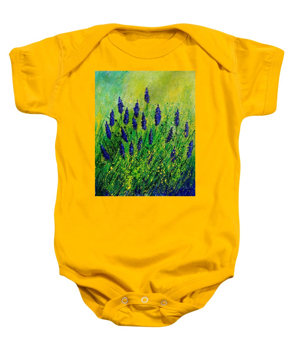 Flowers Baby Onesie featuring the painting Muscaris 4590 by Pol Ledent