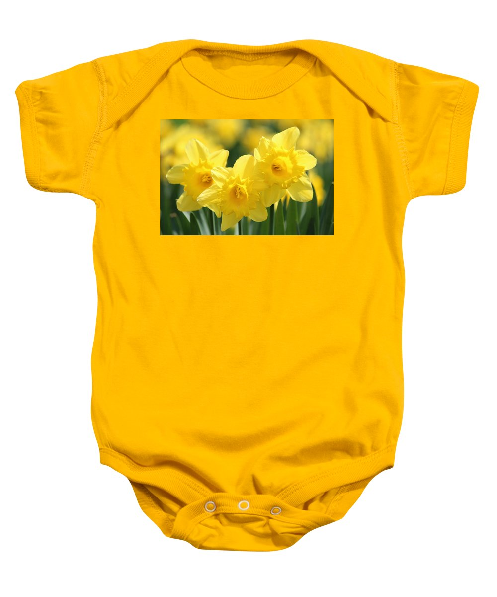 Daffodil Baby Onesie featuring the photograph Narcissus Meadows by Heike Hultsch