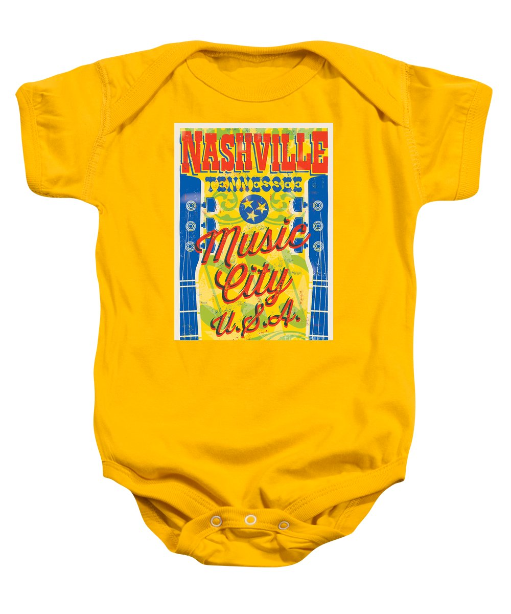 Guitars Baby Onesie featuring the digital art Nashville Tennessee Poster by Jim Zahniser