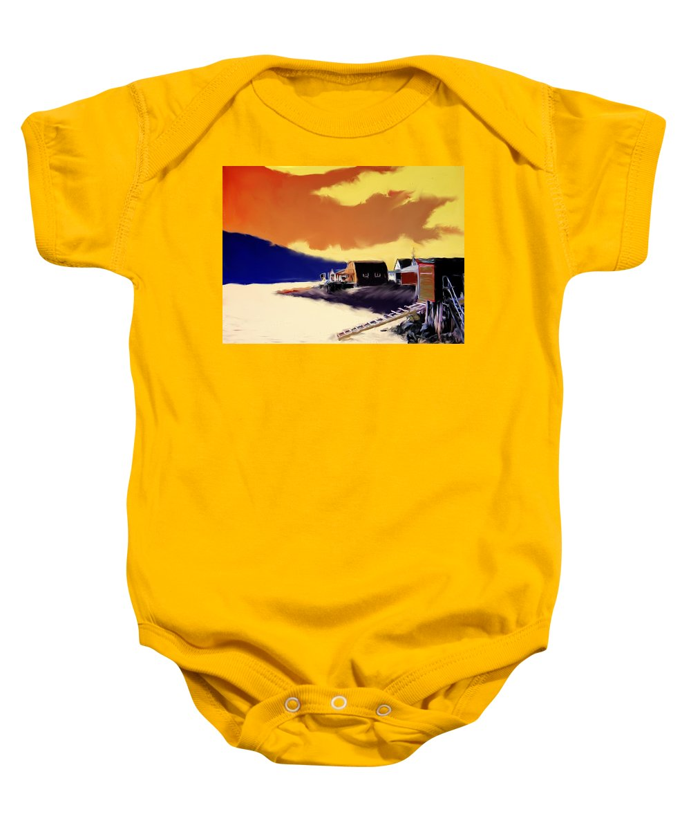 Newfoundland Baby Onesie featuring the photograph Newfoundland Fishing Shacks by Ian MacDonald