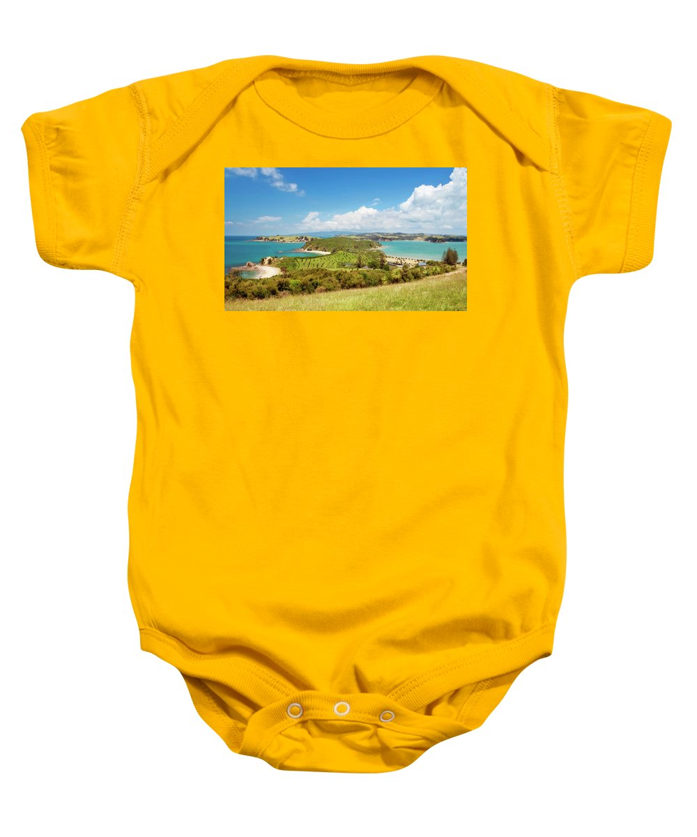 Joan Carroll Baby Onesie featuring the photograph North Tower Viewpoint Rotoroa New Zealand by Joan Carroll