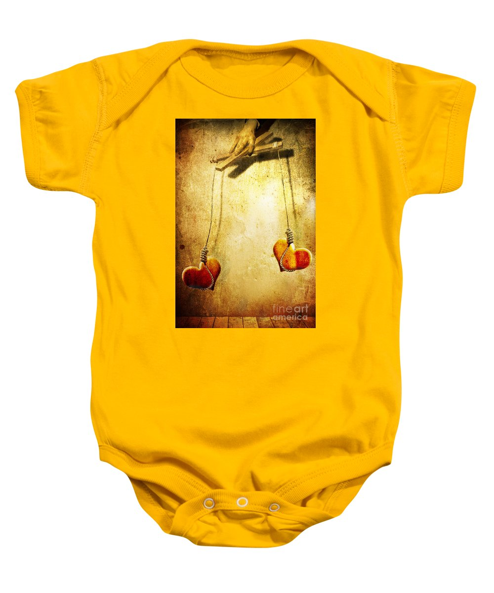 Puppeteer Baby Onesie featuring the painting Not Meant To Be... by Jacky Gerritsen