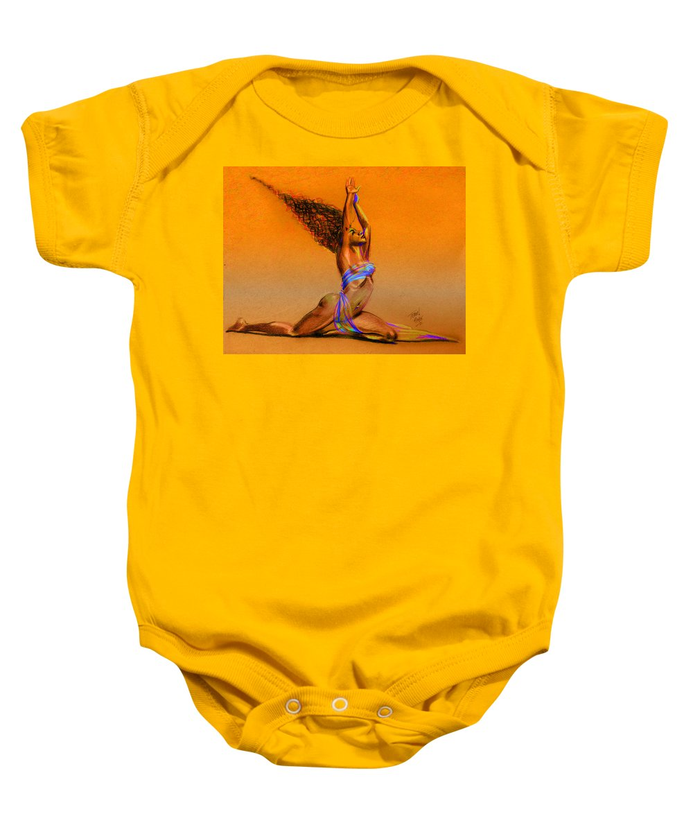 Hair Baby Onesie featuring the drawing Nrg Sunset by Terri Meredith