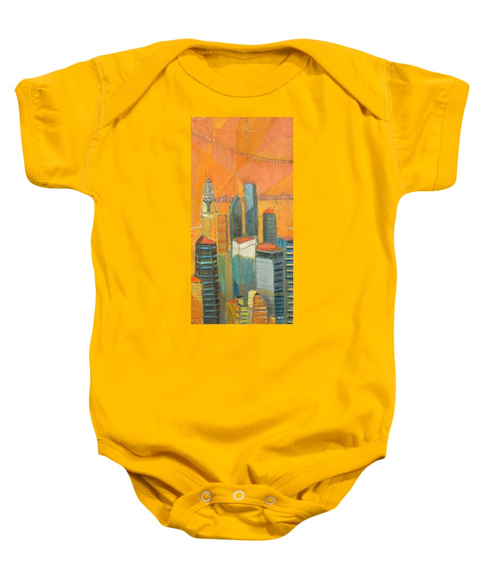 Baby Onesie featuring the painting Nyc In Orange by Habib Ayat