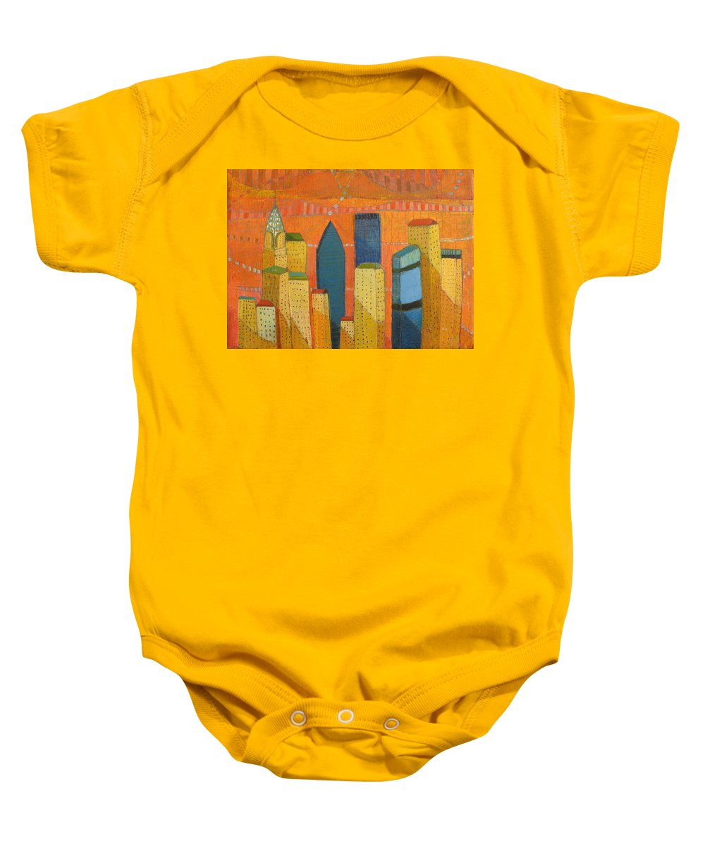 Abstract Cityscape Baby Onesie featuring the painting Nyc With Chrysler by Habib Ayat