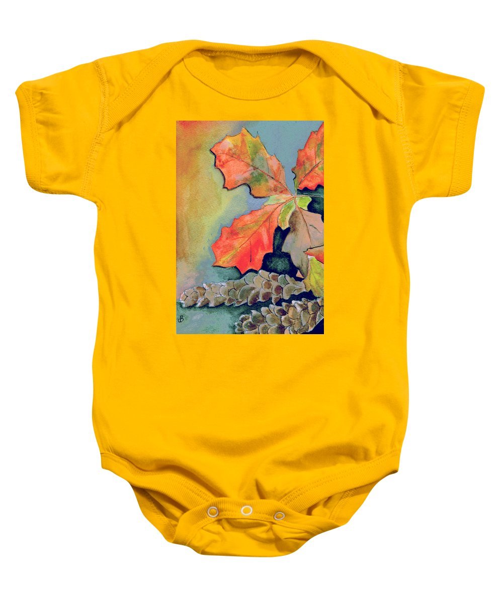 Watercolor Baby Onesie featuring the painting Oak Leaves And Pinecones by Brenda Owen