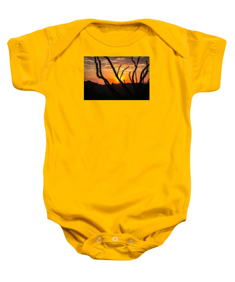 Ocotillo Baby Onesie featuring the photograph Ocotillo by Brandon Cunnigham