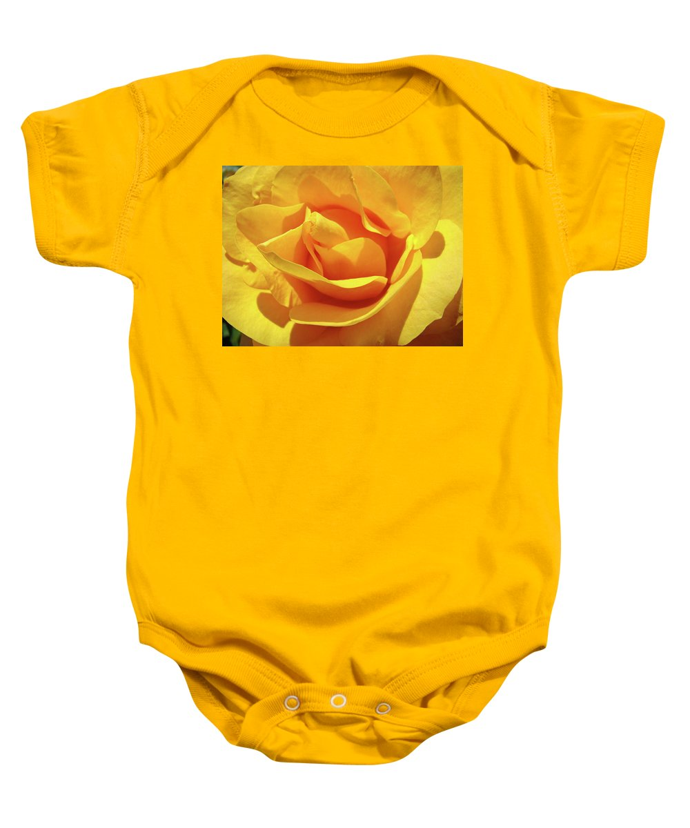 Rose Baby Onesie featuring the photograph Office Art Prints Roses Orange Yellow Rose Flower 1 Giclee Prints Baslee Troutman by Baslee Troutman