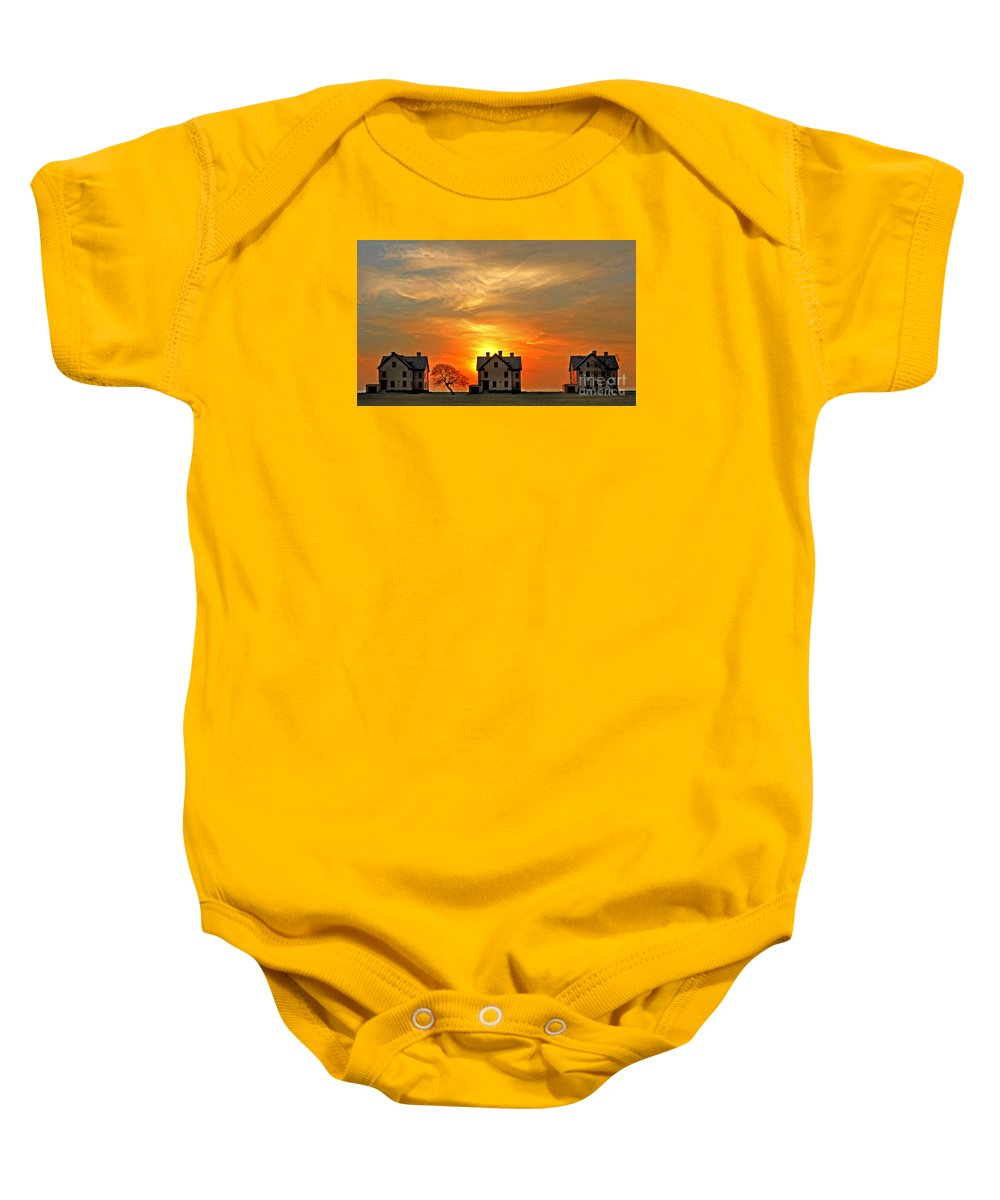 Bradley Baby Onesie featuring the photograph Officer's Row At Sunset by Rich Despins