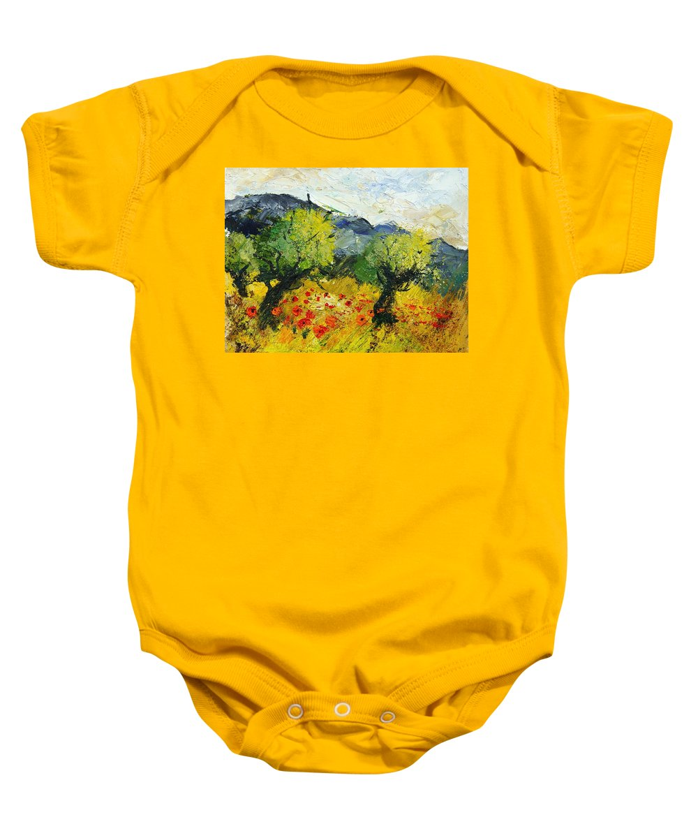 Flowers Baby Onesie featuring the painting Olive trees and poppies by Pol Ledent