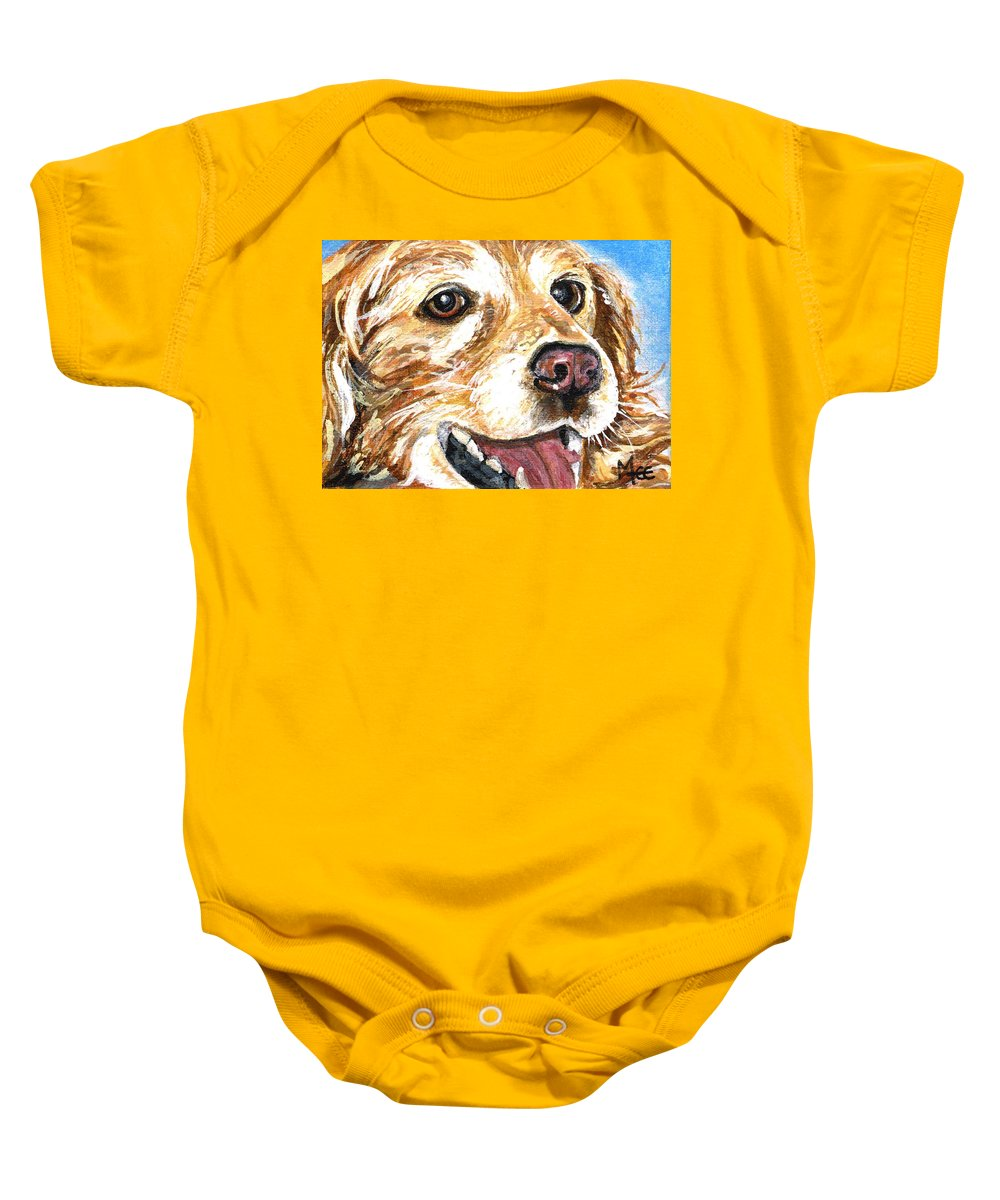 Charity Baby Onesie featuring the painting Oliver From Muttville by Mary-Lee Sanders