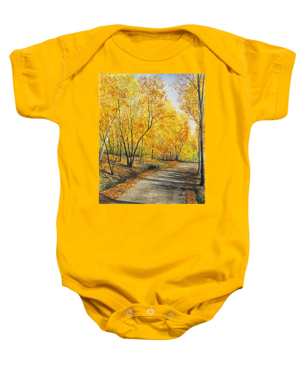 Autumn Baby Onesie featuring the painting On Golden Road by Mary Tuomi