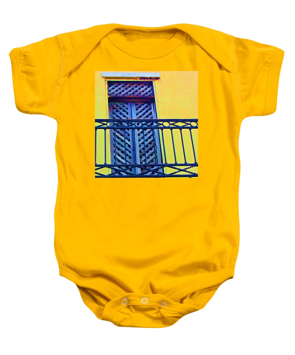 Balcony Baby Onesie featuring the photograph On The Balcony by Debbi Granruth