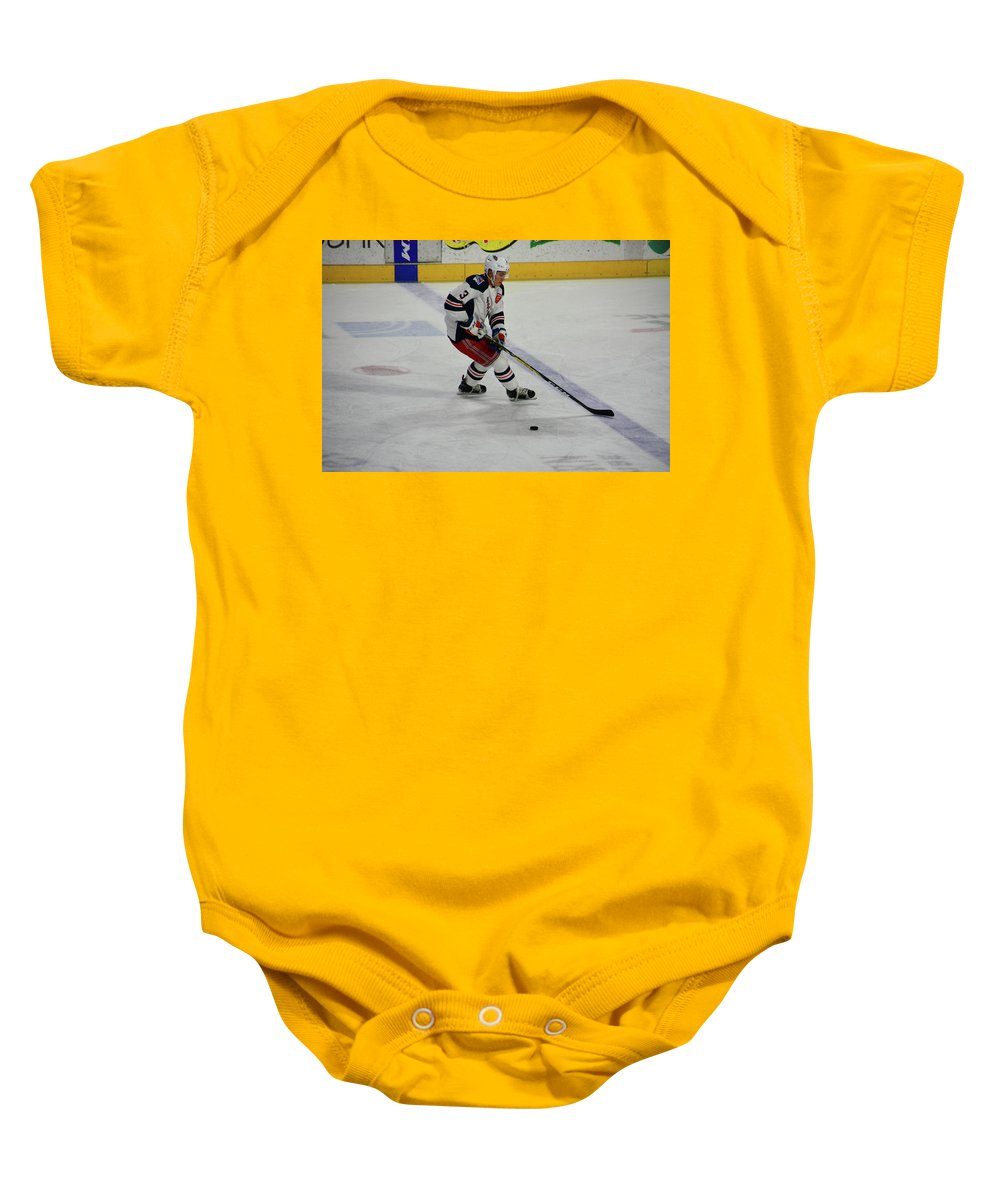 Sports Baby Onesie featuring the photograph On The Blue Line by Mike Martin