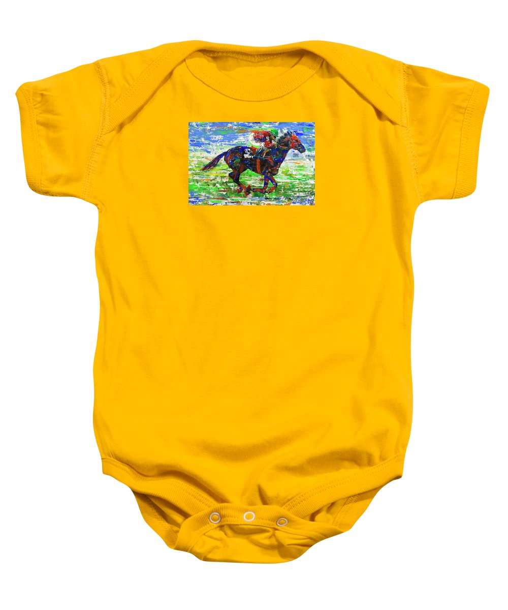 Horse Racing Baby Onesie featuring the painting One Body Length Ahead by Walter Fahmy