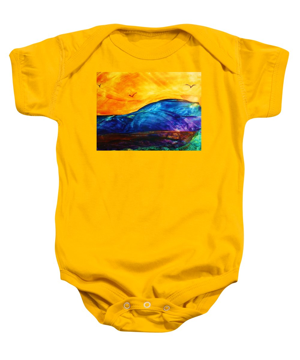 Landscape Baby Onesie featuring the painting One Fine Day by Melinda Etzold