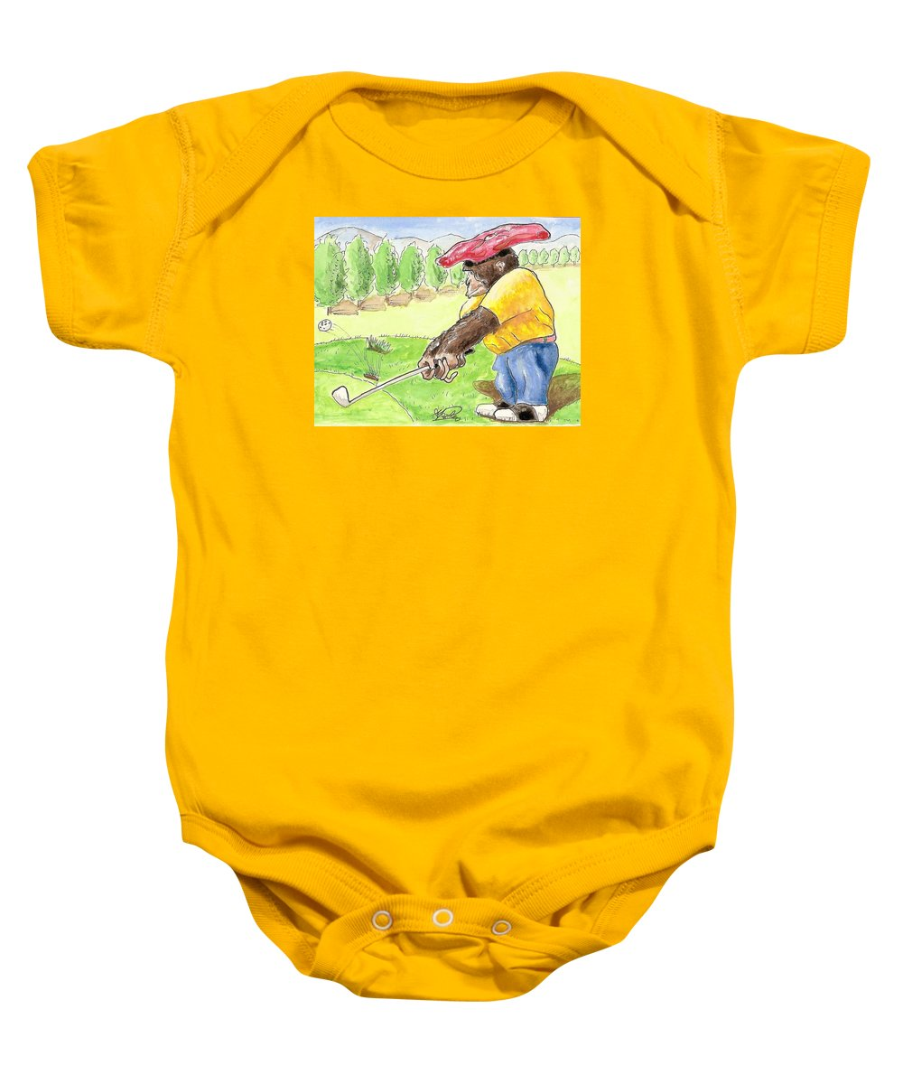 Golf Baby Onesie featuring the painting Oops by George I Perez