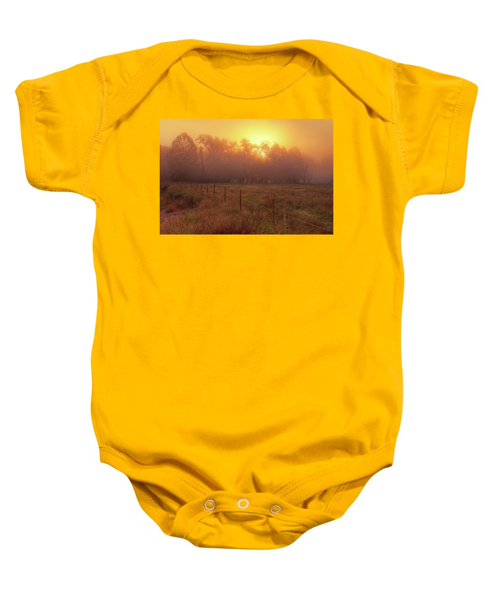 Mist Baby Onesie featuring the photograph Oranage Dawn by Robert Charity