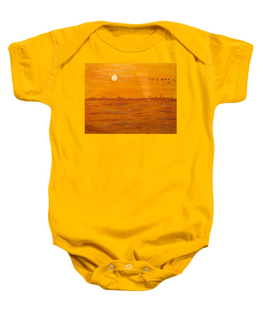 Orange Baby Onesie featuring the painting Orange Ocean by Ian MacDonald
