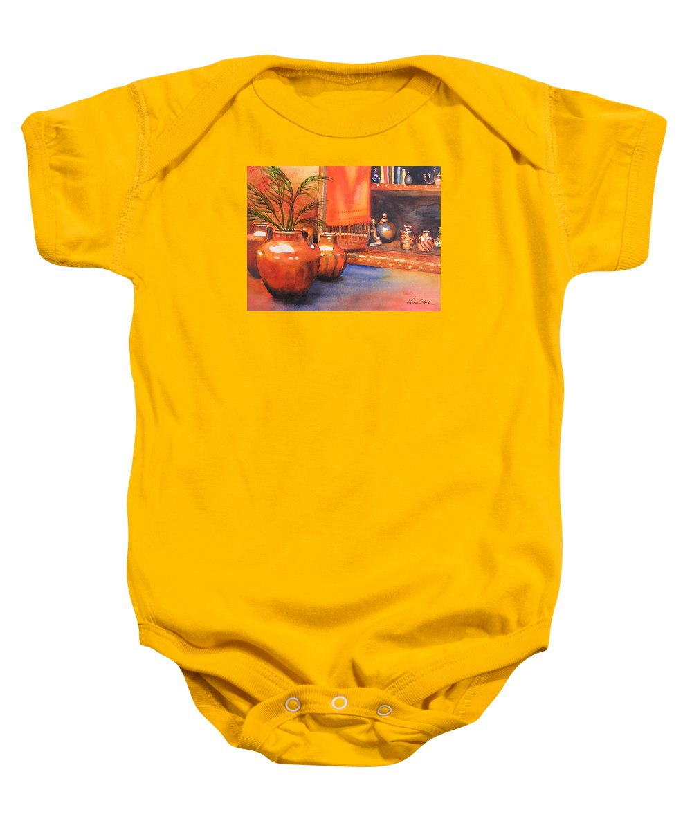 Pottery Baby Onesie featuring the painting Orange Scarf by Karen Stark