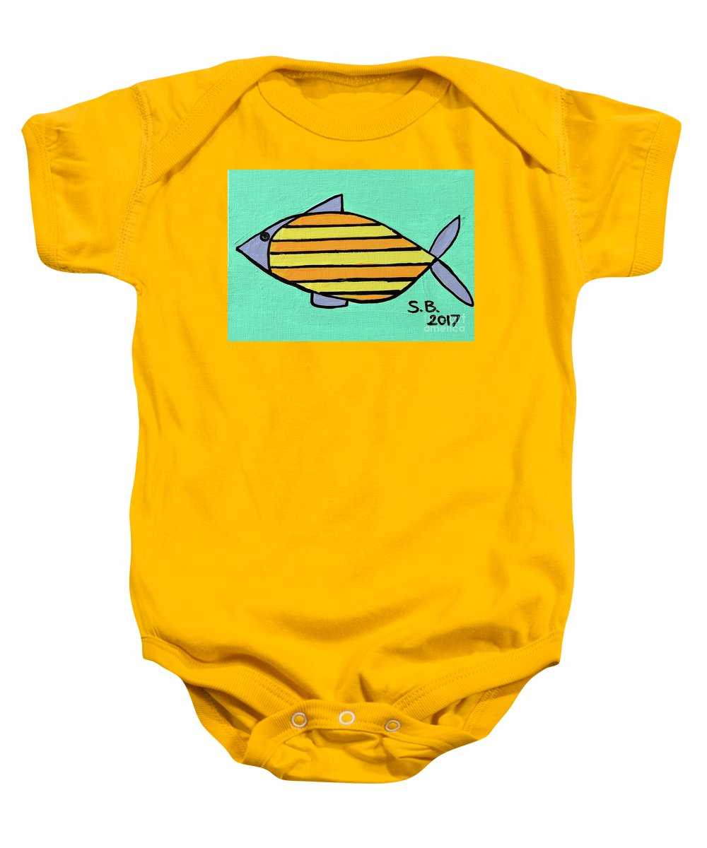 Fish Baby Onesie featuring the painting Orange Stripes by Sean Brushingham