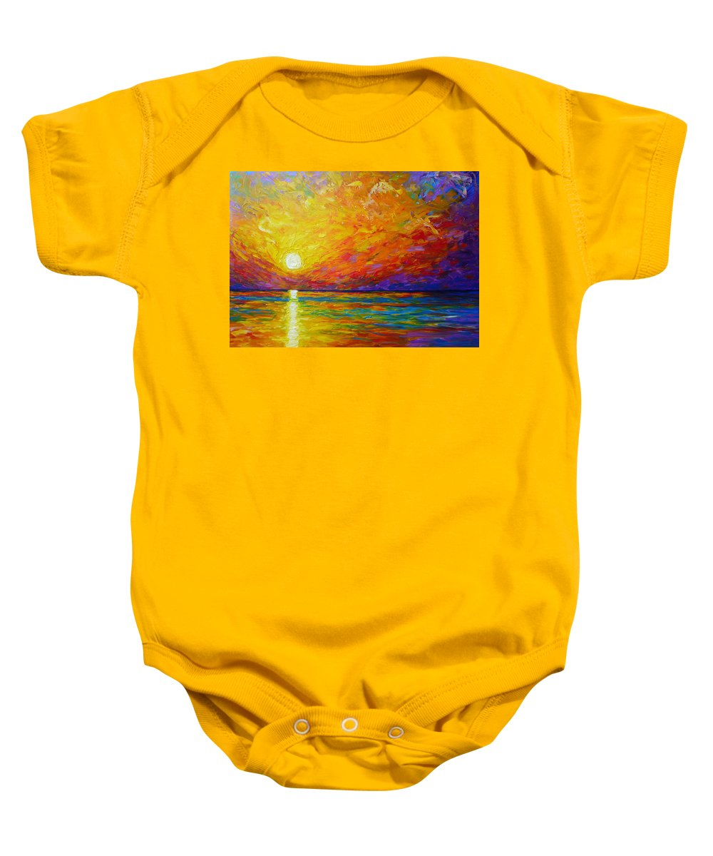 Landscape Baby Onesie featuring the painting Orange Sunset by Ericka Herazo