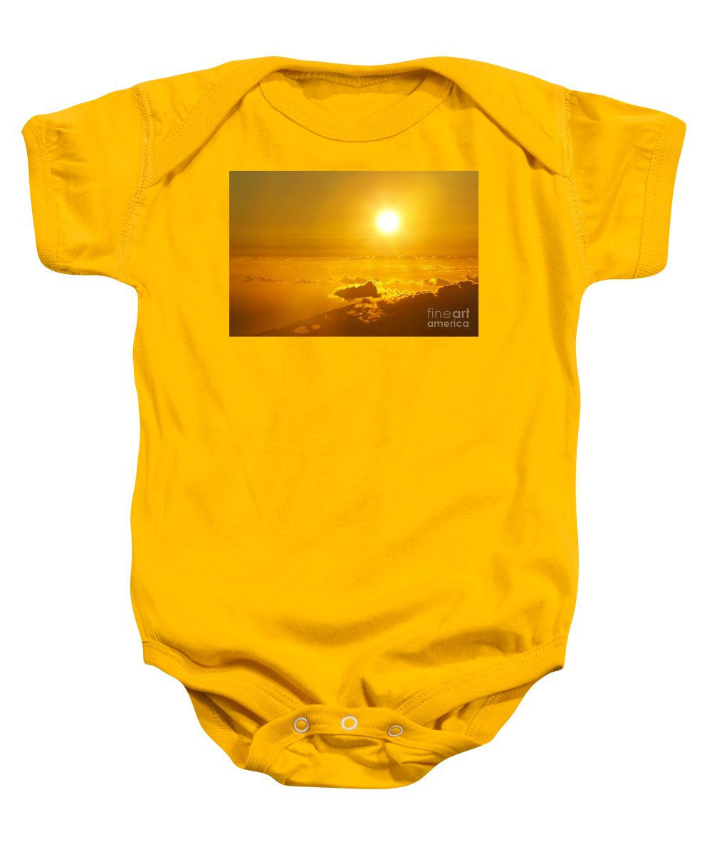 Altitude Baby Onesie featuring the photograph Orange Sunset - Haleakala by MakenaStockMedia - Printscapes