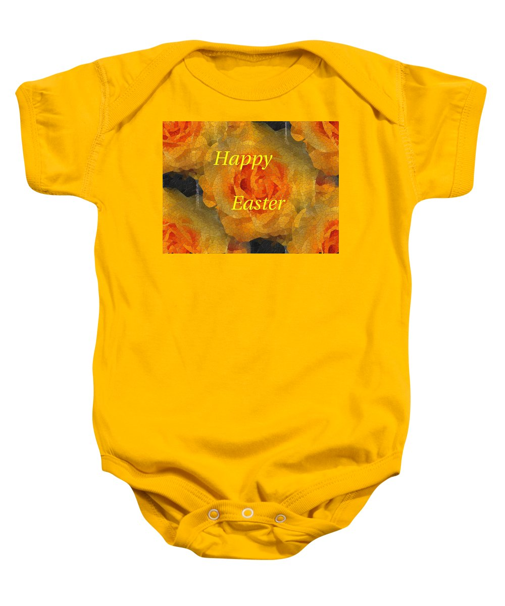 Easter Baby Onesie featuring the digital art Orange You Lovely Easter by Tim Allen